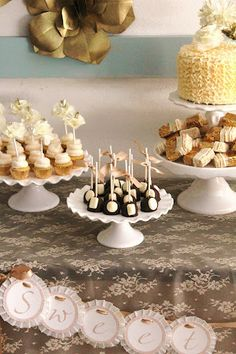 ruffle cake, cupcakes and cake pops with shimmered gems