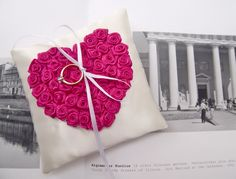 Wedding ring pillow with Hot pink rosed heart by GorgeousIdeas