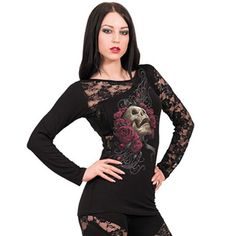 Rose Skull, gothic fantasy metal rozen schedel top met lange mouwen zwart - XL - Spiral