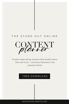 The Stand Out Online Content Planner will guide you through creating captivating content that will establish you as an authority, build, know, like and trust, and have your ideal client dying to work with you. #contentcreation #personalbrand #branding #onlinebusinessowner #marketing #attractionmarketing #brand #socialmediamarketing