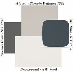Alpaca paint color SW 7022 by Sherwin-Williams. View interior and exterior paint… Alpaca paint color SW 7022 by Sherwin-Williams. View interior and exterior paint colors and color palettes. Get design inspiration for painting projects. Exterior Paint Colors For House, Interior Paint Colors, Paint Colors For Home, Paint Colours, Garage Paint Colors, Exterior Paint Schemes, Stucco House Colors, Outdoor Paint Colors, Exterior Color Palette