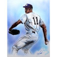Gary Longordo Dwight 'Doc' Gooden Autographed Sports Memorabilia Painting