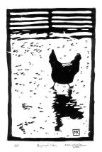 Chicken Lino Cut Print