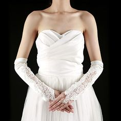 Satin / Lace Fingerless Elbow Length With Pearls / Embroidery Bridal Gloves (More Colors) – USD $ 14.99