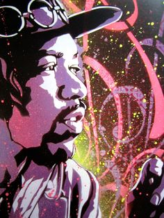 Jimi Hendrix Purple Haze Stencil Art Print by taylorlindgrenart, $20.00