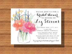 Custom Designed #Bridal #Shower #Invitation, #Printable #BridalShower Invitation, #MasonJar Bridal Shower Invitation, #Wedding #ShowerInvitation by WeddingsByJamie on Etsy
