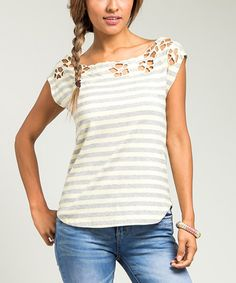 Yellow Floral-Cutout Boatneck Top by  #zulily #zulilyfinds