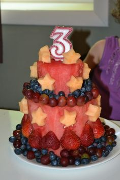 """Pinner said: All foods fruits that I had for my birthday celebration. in """"cake"""" form! Healthy Birthday Cake Alternatives, Healthy Birthday Cakes, Fruit Birthday Cake, First Birthday Cakes, 3rd Birthday, Birthday Celebration, Birthday Ideas, Birthday Cards, Fruit Crafts"""