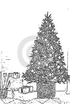 Illustration about Christmas Tree Adult Children Coloring Book Black White Sketch Cartoon Children Anti-stress Relaxing Coloring. Illustration of adult, crystals, cartoon - 133236796 Cartoon Christmas Tree, Colorful Christmas Tree, Adult Coloring, Coloring Books, Anti Stress, Adult Children, Sketch, Symbols, Black And White