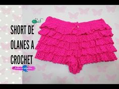 SHORT DE OLANES A CROCHET. - YouTube Crochet Pants, Crochet Romper, Black Crochet Dress, Crochet Skirts, Crochet Crop Top, Crochet Clothes, Crochet Baby, Knit Crochet, Poncho Design