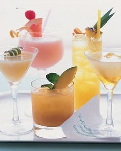 These colorful cocktails all feature Puerto Rican rums; whimsical garnishes make them extra festive #wedding favors, #bridal shower favors, #party favors, #personalized favors, #decorations, #bridesmaids gifts, #bridal party gifts, #wedding supplies, #timelesstreasure
