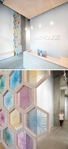 1. A 17 foot tall screen made from birchwood hexagons woven with colorful twine…