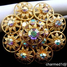 Vintage AB Crystal Round Circle Flower Brooch Pin Gold Tone Layered Design Nice! $24.00