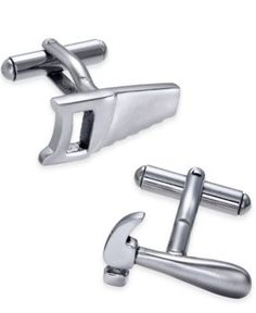 Sutton by Rhona Sutton Men's Stainless Steel Hammer and Saw Cuff Links - Silver