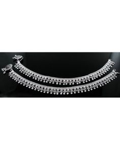 """Traditional Indian Real Silver Jewlry Anklets Ankle (Pajeb) Bracelet Pair 10.7"""""""