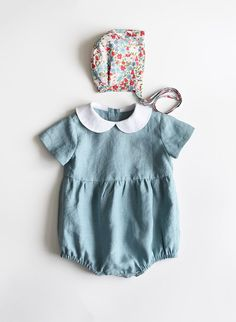 Linen Baby Romper Linen Baby Onesie Peter Pan Collar Baby