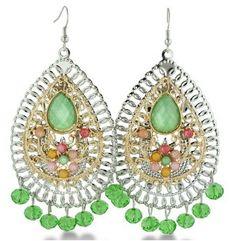 "Dangle Pear Drop Multi-Colored Beaded Earrings Tone 3.5"""