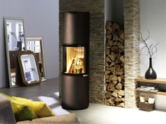 Spartherm Passo M Wood Burning Logs, Freestanding Fireplace, Freestanding Stoves, Futuristic Home, Firewood Storage, Wooden Shelves, Decoration, Living Room Designs, Sweet Home