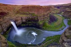 Wow! Palouse Falls in Washington state is a 198-foot waterfall that tumbles into a beautiful pool of water.