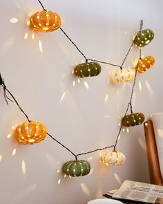 Gear up for autumn with a garland of mini gourds or pumpkins. Dress up entryways, tablescapes, or staircases for a festive fall scene. Orange Led Lights, Balsam Hill, Wreaths And Garlands, Mini Pumpkins, Halloween Season, Halloween Decorations, Fall Decor, Harvest, 18 Hours