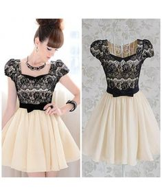 2014 New Arrival Fashion Lady Cute Pleated Dress with Lace Square Neck Slim Bow Puff Short Sleeve Women Cute Prom Dresses Cute Dresses For Party, Pretty Dresses, Beautiful Dresses, Party Dress, Gorgeous Dress, Vestidos Vintage, Vintage Dresses, Vintage Lace, Dress With Bow