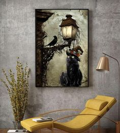 Black cat Halloween night in the town poster canvas decor Healthy Halloween, First Halloween, Halloween Cat, Halloween Night, Halloween Gifts, Wall Canvas, Canvas Art, Halloween Wall Decor, Shih Tzu