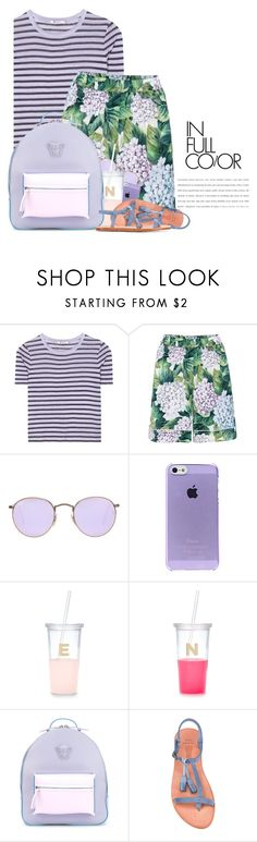 """""""Pattern Mixing: Stripes & Florals"""" by hollowpoint-smile ❤ liked on Polyvore featuring T By Alexander Wang, Dolce&Gabbana, Ray-Ban, Kate Spade, Versace and n.d.c."""