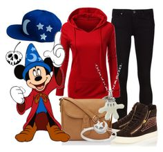 """""""Cake x DB's """"Sorcerer"""" hat"""" by leslieakay ❤ liked on Polyvore featuring Giuseppe Zanotti, Disney, Itsy Bitsy, disney, disneybound, mickeymouse and disneycharacter"""
