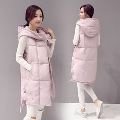 2016 New Winter Long Mianfu Hooded Down Cotton Vest Coat Color All-match Thickening Fashion Veste Femme Womens Vests Outerwear