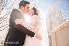 Winter wedding with blue skies