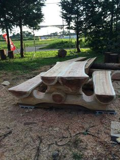 Log Picnic Table From Cedar