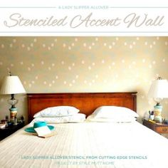 A Lady Slipper Allover Stenciled Accent Wall