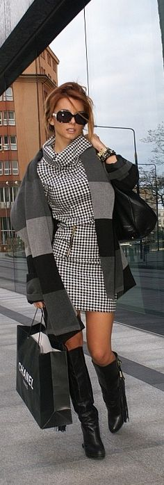 houndstooth chic, skirt slightly longer, but love this outfit, coat, boots, everything about it and the glasses