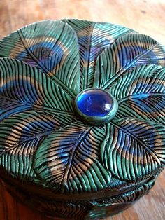 Peacock feather round box detail, MaevinWren.