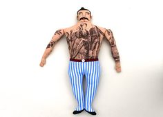 A beefy tattooed man doll, straight from the sideshow tent at the circus- Very Edwardian! What a fellow! He has big tattoos, dark brown hair, and Striped Tights, Striped Shorts, Asian Tattoos, Cute Stuffed Animals, Red Belt, Bias Tape, Big Men, Vintage Cotton, Fabric Dolls