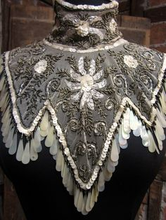 Antique 1900s Victorian Mantle SILVER SEQUINED hand made Beaded Net Lace Collar Stunning aurora borealis