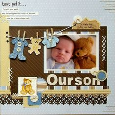#papercraft #scrapbook #layout. Sweet Baby Boy Page...with clothesline & mini pins & stitched up trim.