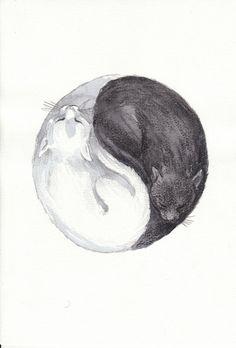 """Yin and Yang - Cats"" shop Etsy.com,  Originalartifacts Burwash, England, UK"