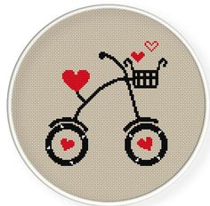 heart bike in cross stitch Cross Stitch Heart, Modern Cross Stitch, Counted Cross Stitch Patterns, Cross Stitch Designs, Cross Stitch Embroidery, Embroidery Patterns, Hand Embroidery, Crochet Cross, Cross Stitching