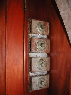 These are the light switches located outside the kitchen area in the old 1910 Northern Pacific Dining Car.