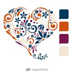 Navy, Pumpkin, Sangria, and Champagne Wedding Color Palette - free custom artwork created at MagnetStreet.com