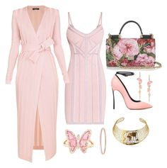 Pink, Gold & Black by carolineas on Polyvore featuring polyvore, fashion, style, Hervé Léger, Balmain, Casadei, Dolce&Gabbana, Stephen Webster, Luna Skye and clothing