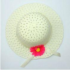 20745353873 niceEshop White Cute Straw Baby Girl Sun Hat Summer Flower Cap and Handbag