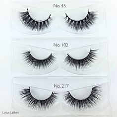 Lotus Lashes No. 45, 102 and 217. Shop our site for the highest quality cruelty-free mink lashes.