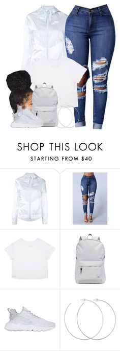 """""""I swear, when n•ggas start gettin' money, they start acting funny."""" by cheerstostyle ❤ liked on Polyvore featuring NIKE, Herschel Supply Co. and Allison Bryan"""