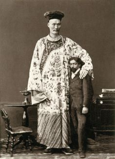 "Chang Woo Gow (c.1845-1893),;the Chinese Giant - Born in Pekin in 1841 grew to a height of 7'8.75"" (235.5 cm). Billed as The Chinese Giant, he travelled the world, renowned for his intelligence and knowledge (he spoke six languages) as much as for his height. Chang Woo Gow finished his life the proprietor of a tea room and 'Oriental Bazaar' in Bournemouth, a resort on the south coast of England, where he was buried in 1893."