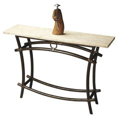 Stone-top+console+table+with+a+bronze-finished+wrought+iron+base.+  Product:+Console+tableConstruction+Material:+...