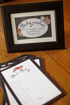 Roses are Pink Baby Shower - Baby Wishes Printable cards