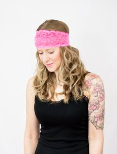 Neon Pink Head Band Lace Wide Floral Stretchy Headband Hair Accessory Style Women by ForgottenCotton
