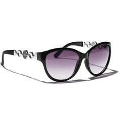Ultra-glam sunglasses with light gray lenses and UV400 protection features the Avon Signature 4A Logo on the frame's chain detail. Comes boxed in a black leatherlike pouch with the 4A Logo in gold foil, and includes a black cleaning cloth. Imported. Http://lorrieeanes.avonrepresentative.com